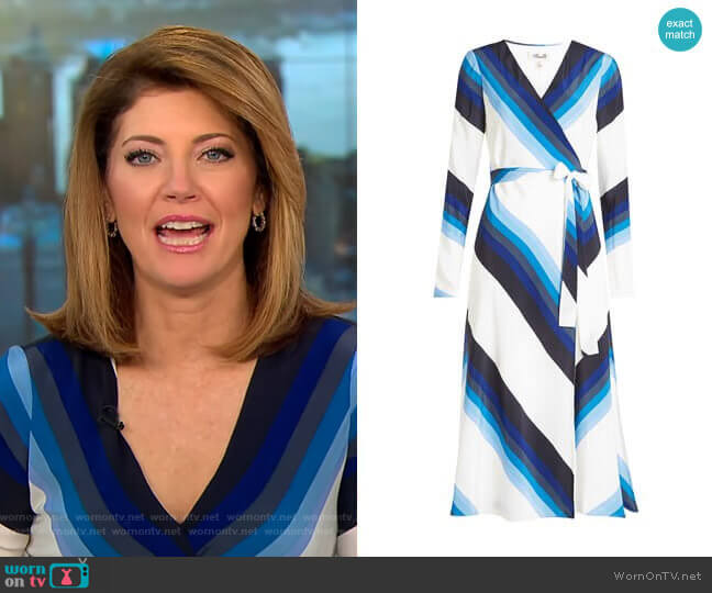 Silk Printed Dress by Diane von Furstenberg worn by Norah O'Donnell  on CBS This Morning