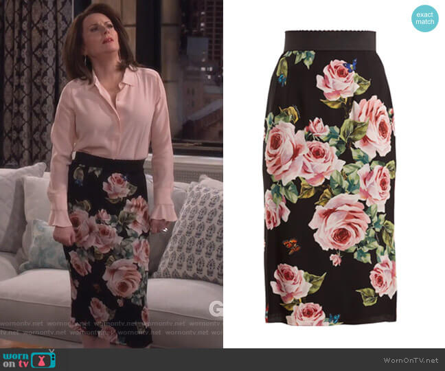 Rose-print stretch-silk skirt by Dolce & Gabbana worn by Karen Walker (Megan Mullally) on Will & Grace