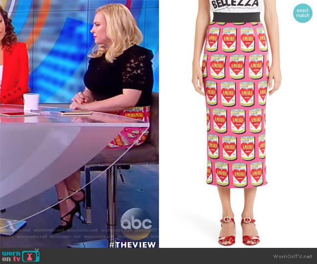 Amore Can-Print Pencil Skirt by Dolce & Gabbana worn by Meghan McCain  on The View