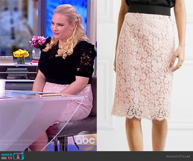 Corded cotton-blend lace midi skirt by Dolce & Gabbana worn by Meghan McCain on The View
