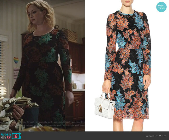 Embroidered lace dress by Dolce & Gabbana worn by Beth Boland (Christina Hendricks) on Good Girls