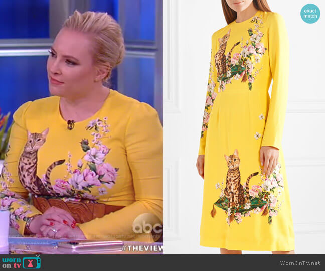 WornOnTV: Meghan's Yellow Cat Print Dress On The View