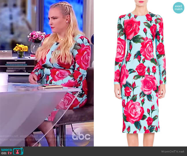 Rose-Print Sheath Dress by Dolce & Gabbana worn by Meghan McCain  on The View