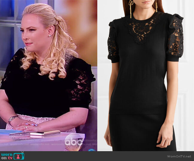 Ruffled georgette-trimmed lace and wool-blend top by Dolce & Gabbana worn by Meghan McCain on The View