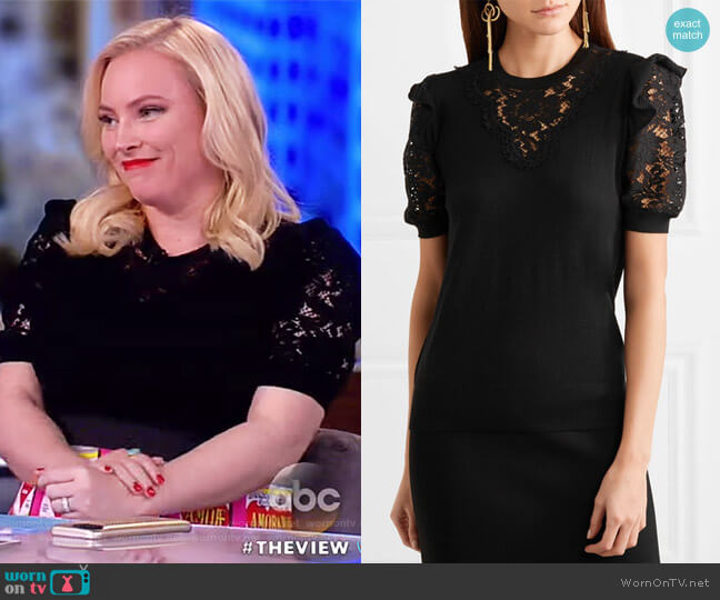 Short-Sleeve Crewneck Pullover Wool-Blend Top by Dolce & Gabbana worn by Meghan McCain (Meghan McCain) on The View
