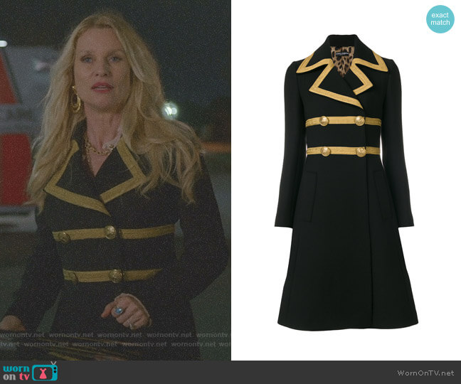 Military Coat by Dolce & Gabbana worn by Alexis Carrington (Elaine Hendrix) on Dynasty