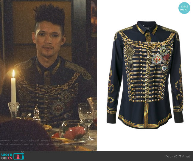 Military Jacket Print Shirt by Dolce & Gabbana worn by Magnus Bane (Harry Shum Jr.) on Shadowhunters