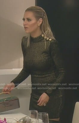 Dorit's metallic dress with shoulder buttons on The Real Housewives of Beverly Hills