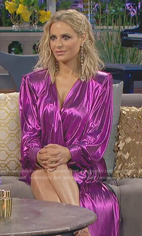 Dorit's metallic magenta draped dress on The Real Housewives of Beverly Hills