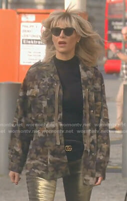Dorit's star print camo jacket and chain embellished boots on The Real Housewives of Beverly Hills