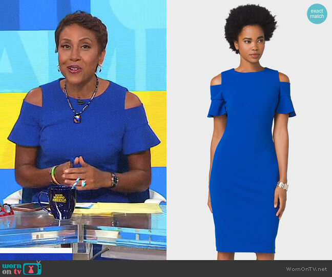 Crepe Ruffled Cold-Shoulder Sheath Dress by Dressbarn worn by Robin Roberts on Good Morning America