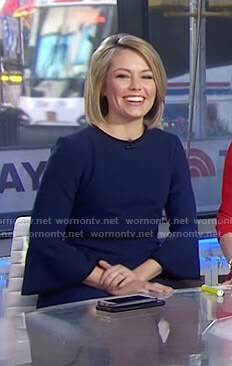 Dylan's navy bell sleeve dress on Today