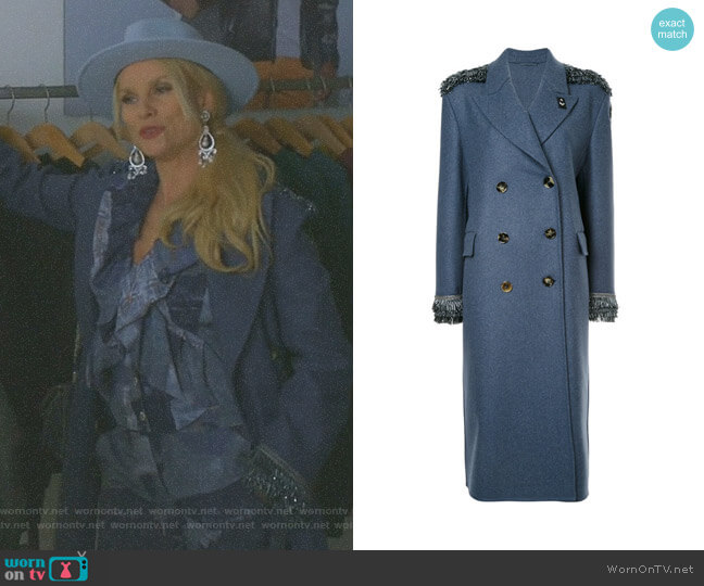 Sequin Detailed Double Breasted Coat by Ermanno Scervino  worn by Nicollette Sheridan on Dynasty