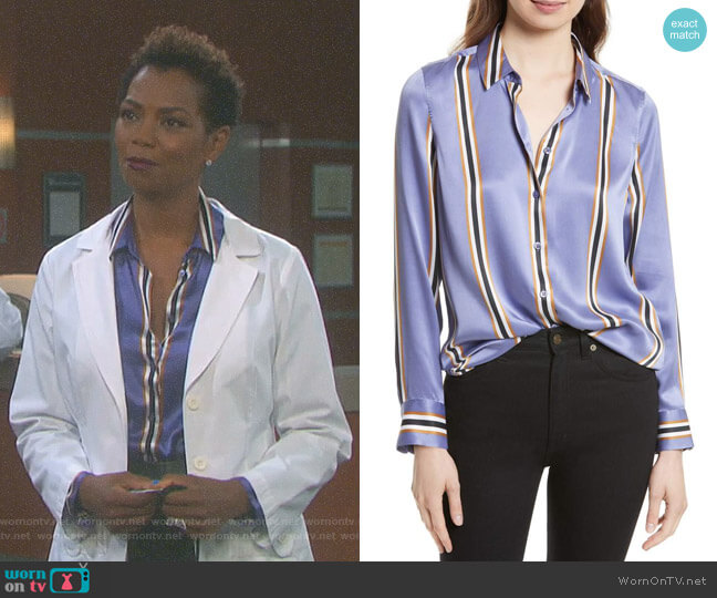 Essential Print Silk Shirt by Equipment worn by Valerie Grant (Vanessa Williams) on Days of our Lives