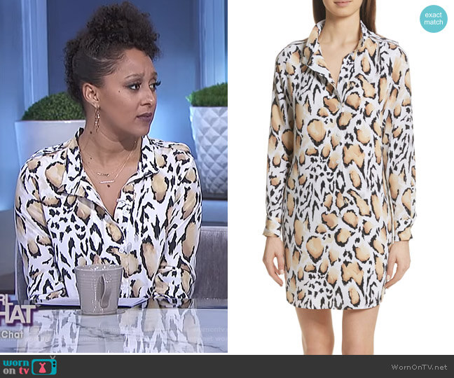 Freda Animal Print Silk Shirtdress by Equipment worn by Tamera Mowry on The Real