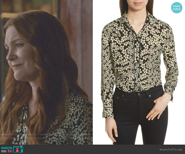 Leema Raw Edge Floral Silk Shirt by Equipment worn by Abby Whelan (Darby Stanchfield) on Scandal