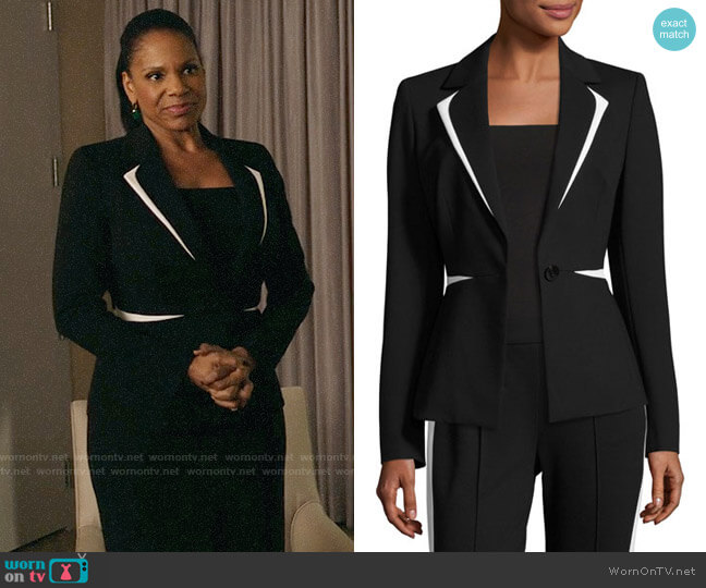 Escada Contrast-Trim One-Button Blazer worn by Liz Reddick-Lawrence (Audra McDonald) on The Good Fight