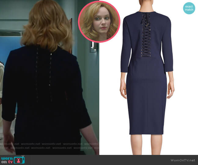 Jewelneck Sheath Dress by Escada worn by Christina Hendricks on Good Girls