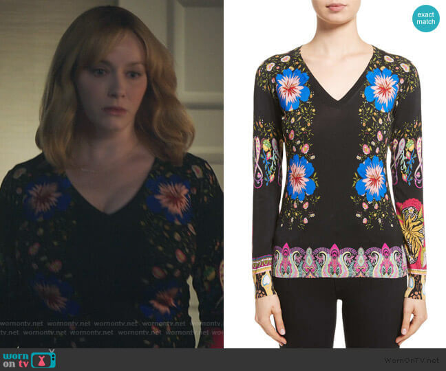 Floral Paisley Stretch Silk Sweater by Etro worn by Beth Boland (Christina Hendricks) on Good Girls