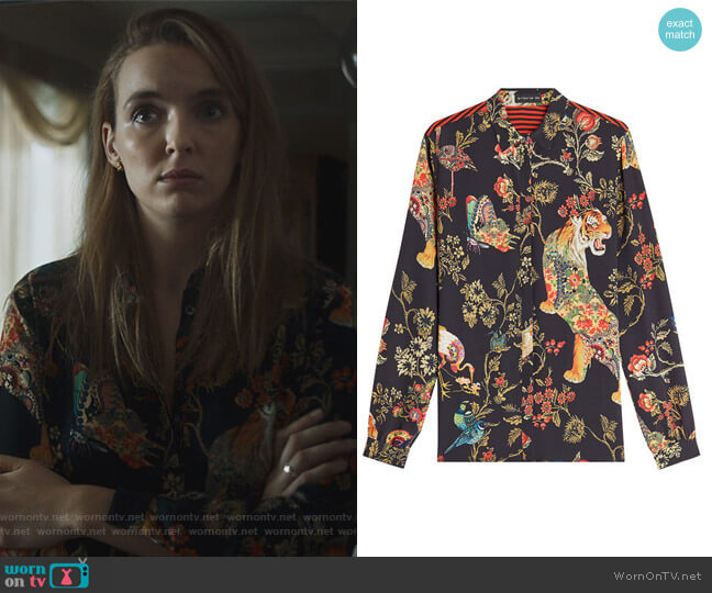 Printed Silk Blouse by Etro worn by Villanelle (Jodie Comer) on Killing Eve