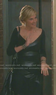 Eve's black leather panel sheath dress on Days of our Lives