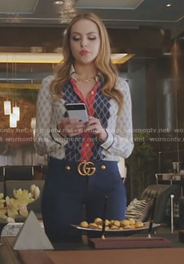 Fallon's Gucci diamond print shirt and blue GG detail pants on Dynasty