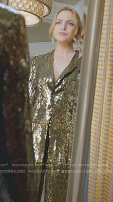 Fallon's sequin jacket and pants on Dynasty