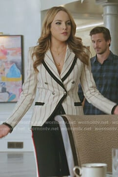 Fallon's white striped blazer and black side striped pants on Dynasty