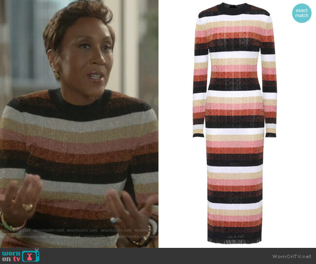 Metallic knitted wool-blend dress by Fendi worn by Robin Roberts on Empire