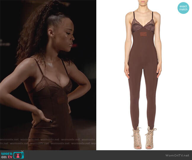 Lace-trimmed jumpsuit by Fenty by Rihanna worn by Serayah McNeill on Empire