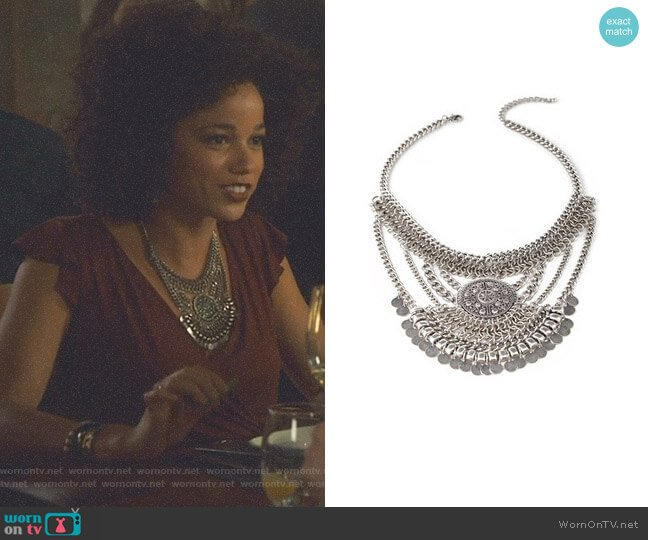 Coin Fringe Pendant Necklace by Forever 21 worn by Alisha Wainwright  on Shadowhunters