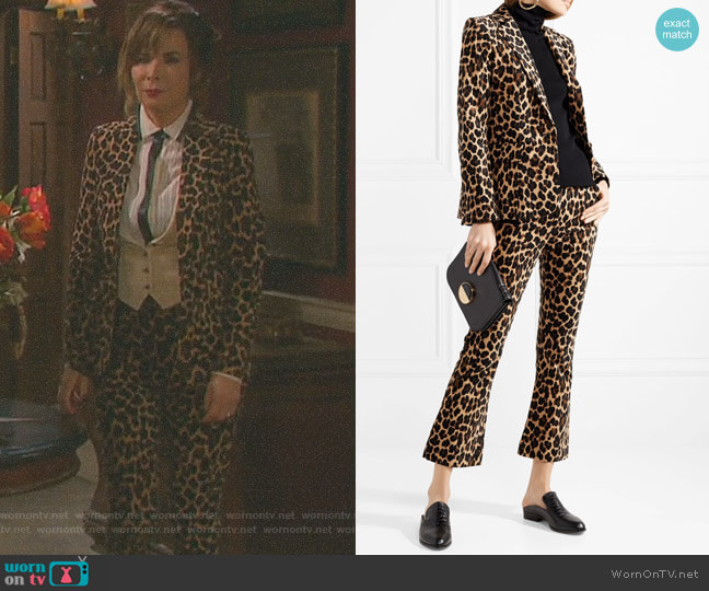 Cheetah-Print Notched Classic Blazer and Cropped Leopard-Print Pants by Frame worn by Kate Roberts (Lauren Koslow) on Days of our Lives