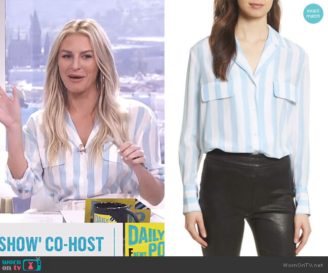 Stripe Pocket Silk Blouse by Frame worn by Morgan Stewart  on E! News