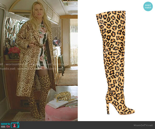 Leopard Printed Boots by Francesco Russo worn by Alexis Carrington (Elaine Hendrix) on Dynasty