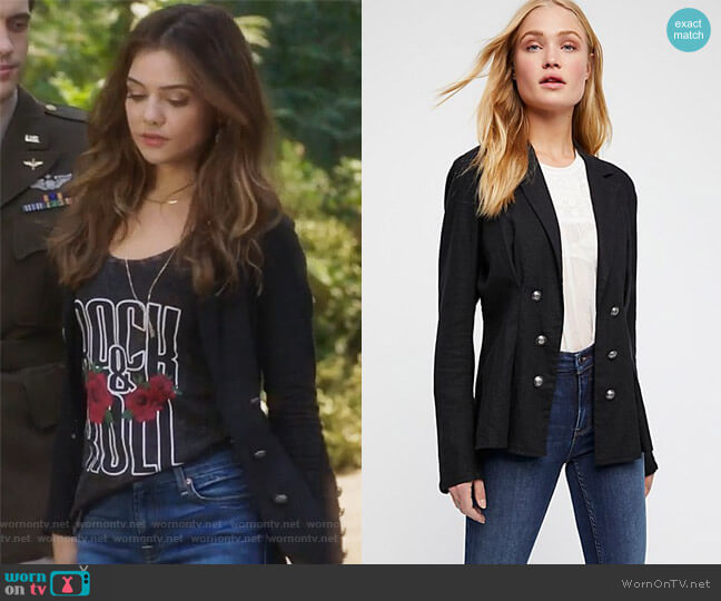Cinched Waist Linen Blazer by Free People worn by Harper Tate (Danielle Campbell) on Famous in Love