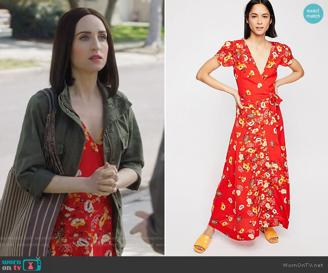 Gorgeous Jess Wrap Dress by Free People worn by Zoe Lister-Jones on Life in Pieces
