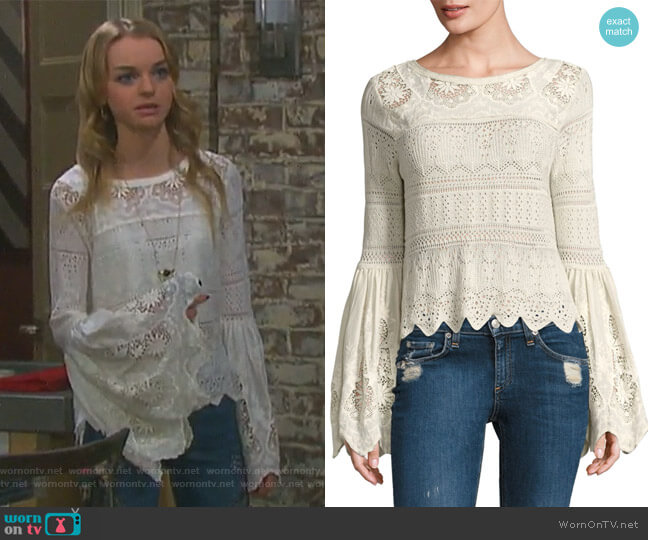 Once Upon A Time Bell Sleeve Top by Free People worn by Claire Brady (Olivia Keegan) on Days of our Lives