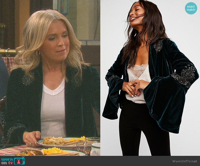 Sacred Heart Jacket by Free People worn by Jennifer Horton (Melissa Reeves) on Days of our Lives