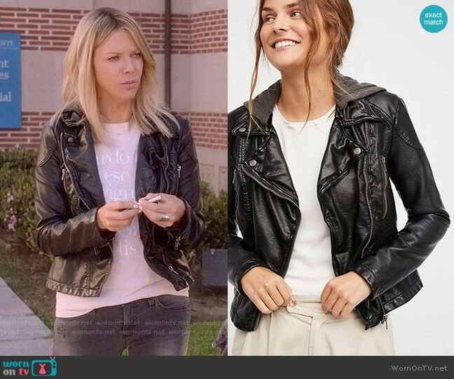 Free People Vegan Leather Hooded Jacket worn by Mackenzie Murphy (Kaitlin Olson) on The Mick