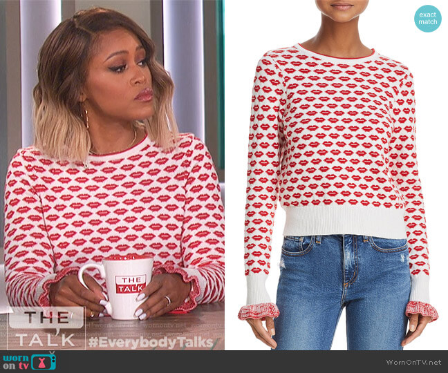 Kiss Print Sweater by French Connection worn by Eve (Eve) on The Talk
