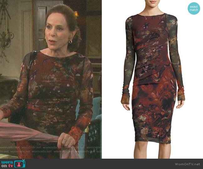 Ruched Floral Print Dress by Fuzzi worn by Louise Sorel on Days of our Lives