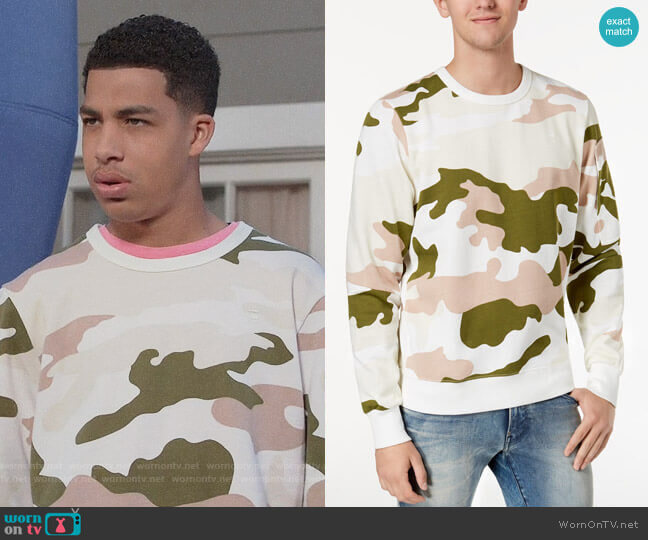 G Star RAW Camouflage-Print Sweatshirt worn by Andre Johnson Jr (Marcus Scribner) on Blackish