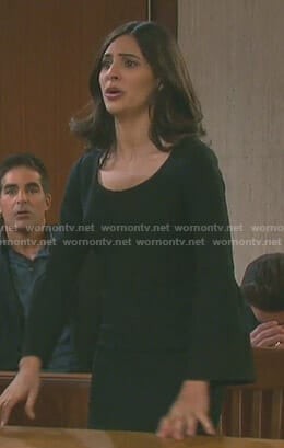 Gabi's black bell sleeve mini dress on Days of our Lives