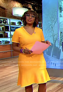 Gayle's orange v-neck flared hem dress on CBS This Morning