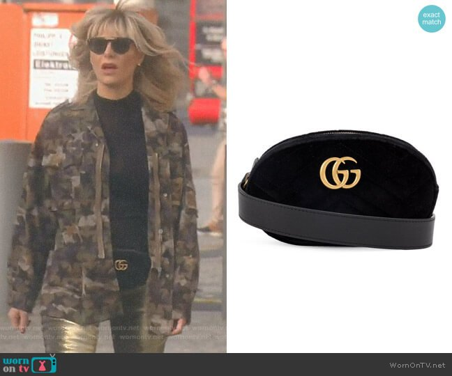 Black Marmont Velvet Belt Bag by Gucci worn by Dorit Kemsley on The Real Housewives of Beverly Hills