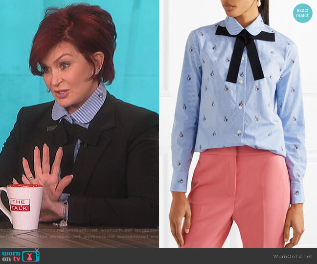 Bow-embellished embroidered striped cotton shirt by Gucci worn by Sharon Osbourne  on The Talk