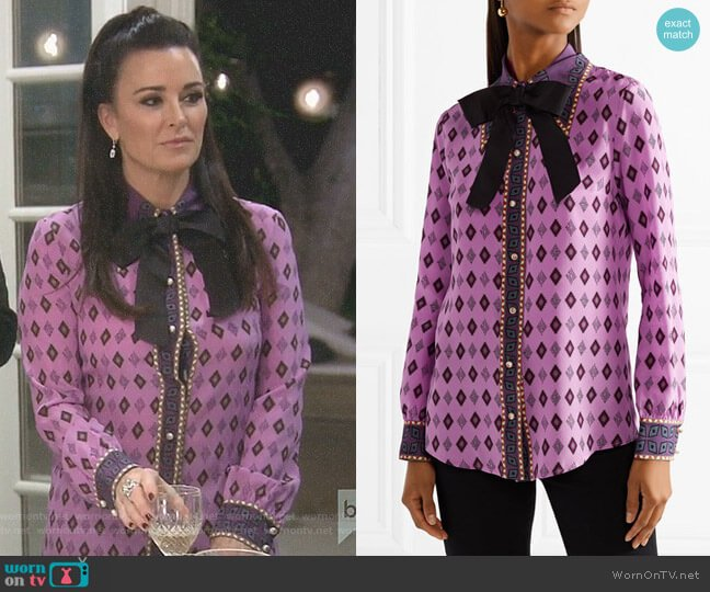 Bow-embellished Silk Shirt by Gucci worn by Kyle Richards (Kyle Richards) on The Real Housewives of Beverly Hills