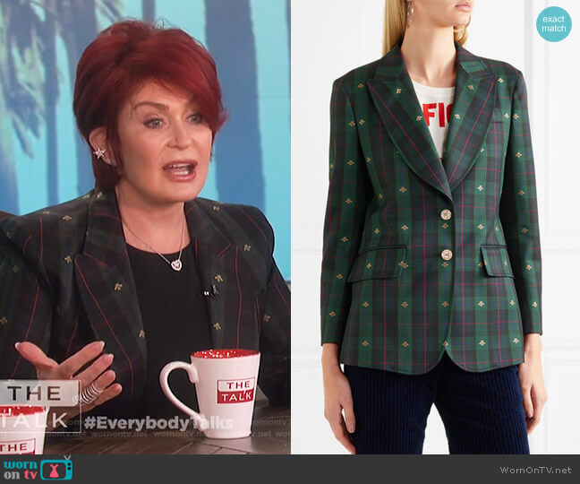 Embroidered checked wool blazer by Gucci worn by Sharon Osbourne  on The Talk