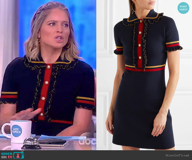 Faux pearl-embellished ruffled wool-blend mini dress by Gucci worn by Sara Haines on The View