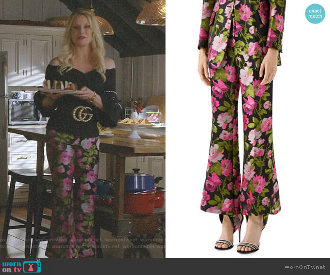 Floral Jacquard Flare Pants by Gucci worn by Alexis Carrington (Elaine Hendrix) on Dynasty